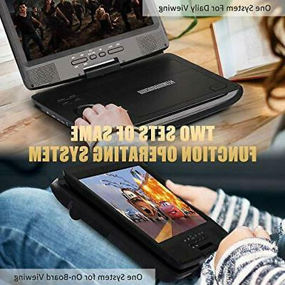 """HDJUNTUNKOR Portable DVD Player with 10.1"""" HD Swivel Display Rech"""