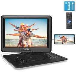 """Portable DVD Player with 16"""" Large Swivel Screen 1366*768 Re"""